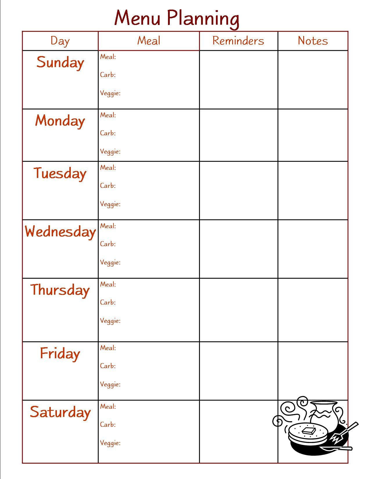 this is the form i use to menu plan for the week under each day i