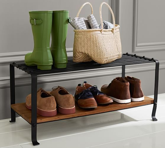 designed to keep the entryway neat and stylish our blacksmith shoe rack features an iron top shelf and mangowood lower shelf wide x deep x high crafted