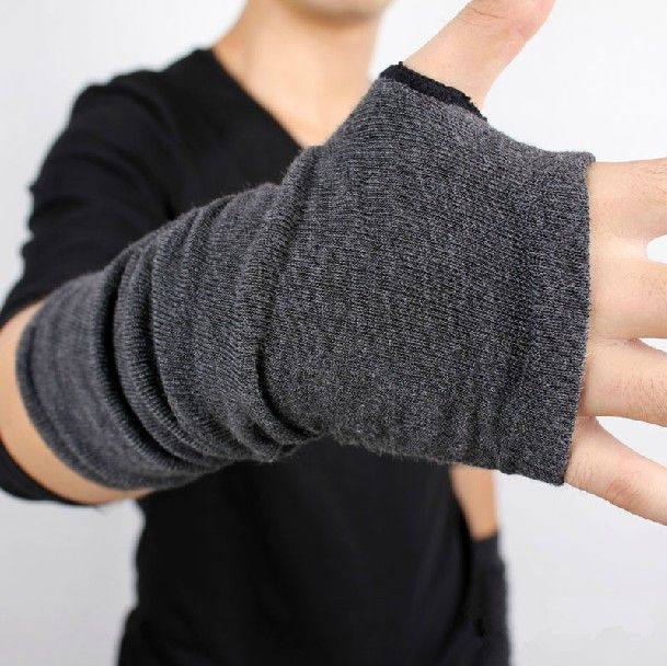 e3641398f9f7e Hombres de otoño invierno de punto espesar caliente moda guante sin ...