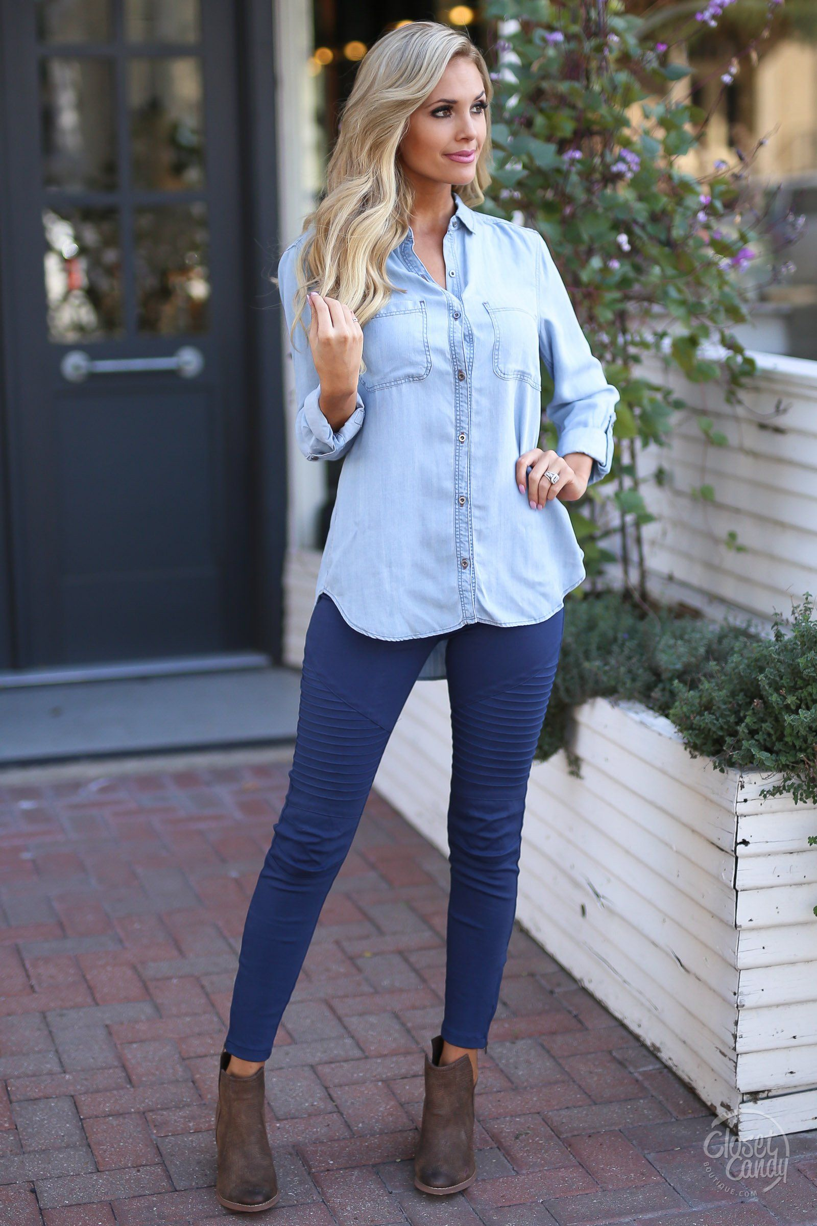 014f14af2e Once In A Blue Moon Chambray Top