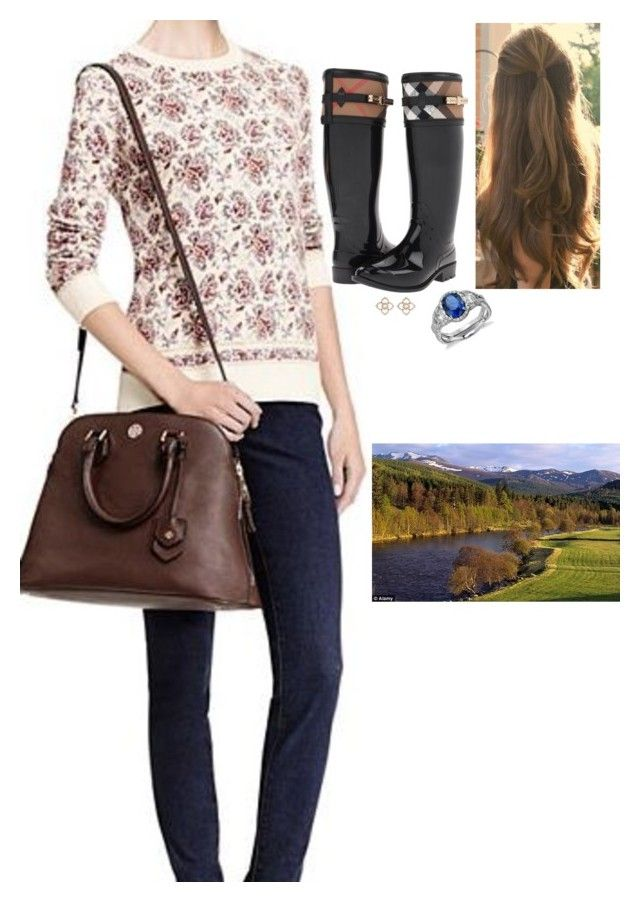"""Walking around the estate with her sisters"" by fashion-royalty ❤ liked on Polyvore featuring Burberry and Blue Nile"
