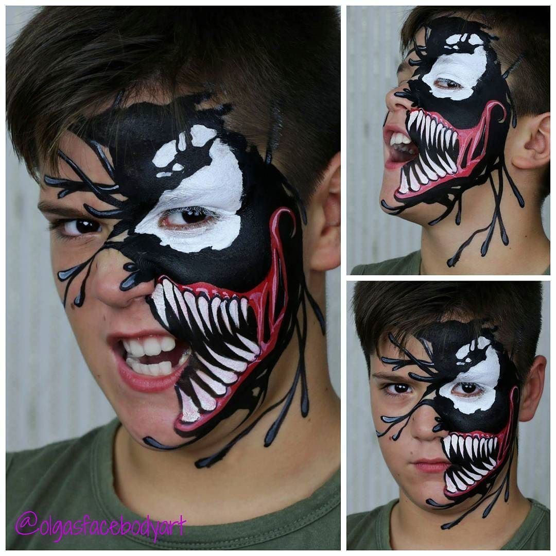 Face Painting Venomfacepainting Video Tutorial Will Be Uploaded On My Youtube Channel In A Few Face Painting Halloween Guys Halloween Makeup Scary Face Paint