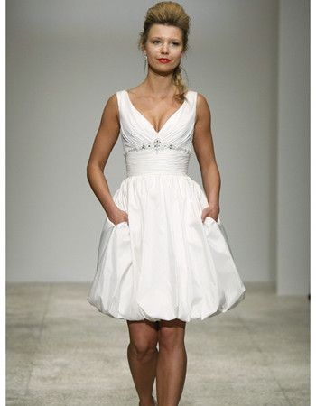 simple ball gown v neck ivory mini reception wedding dresses taffeta short beach bridal