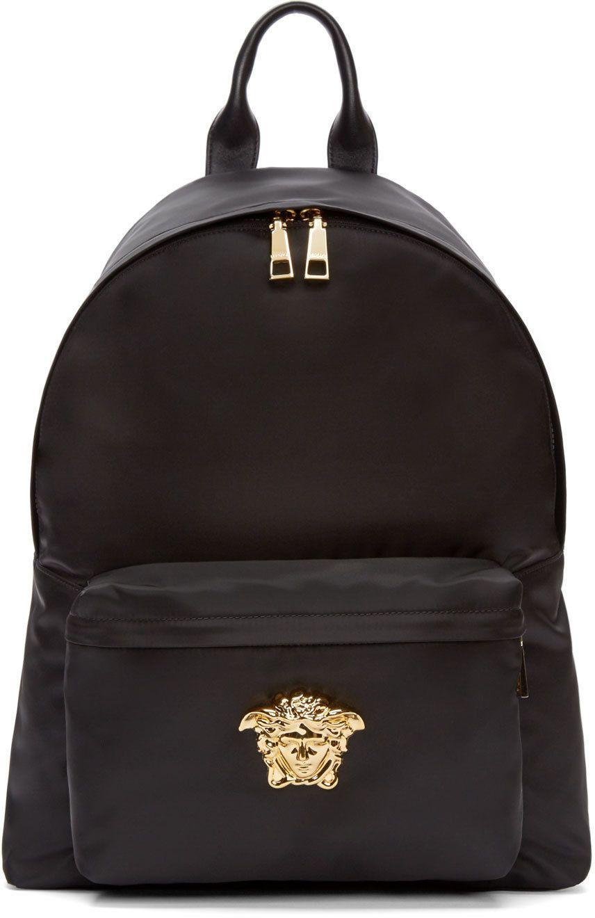3c82a14b58 Versace Black   Gold Nylon Medusa Backpack