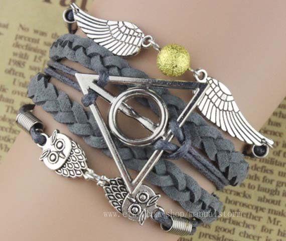 Harry Potter Bracelet  Hedwig Bracelet  Barn Owl bracelet Branch Bracelet Twig bracelet Oak Leaf Bracelet Owl bracelet