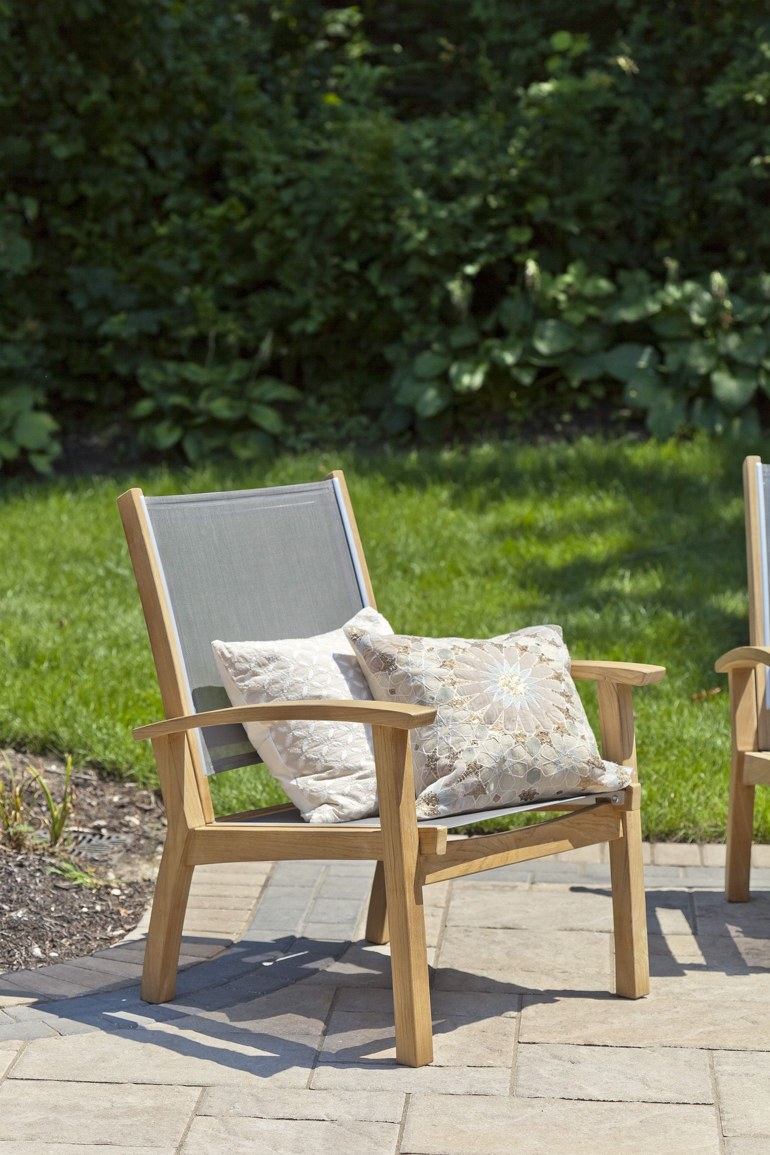 Bayhead sling club chair grey patio chairs wood patio