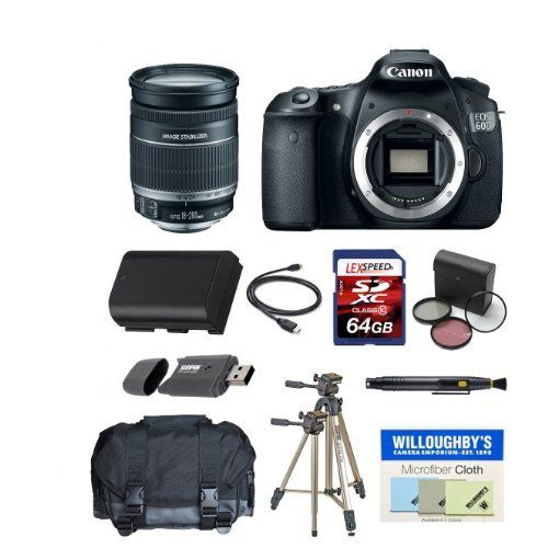 Canon 60d W Canon Ef S 18 200mm F 3 5 5 6 Is Lens Deluxe Gadget Bag Tripod Spare Battery 64gb Sdhc Kit By Canon Camera Cleaning Lens Hood Zoom Lens