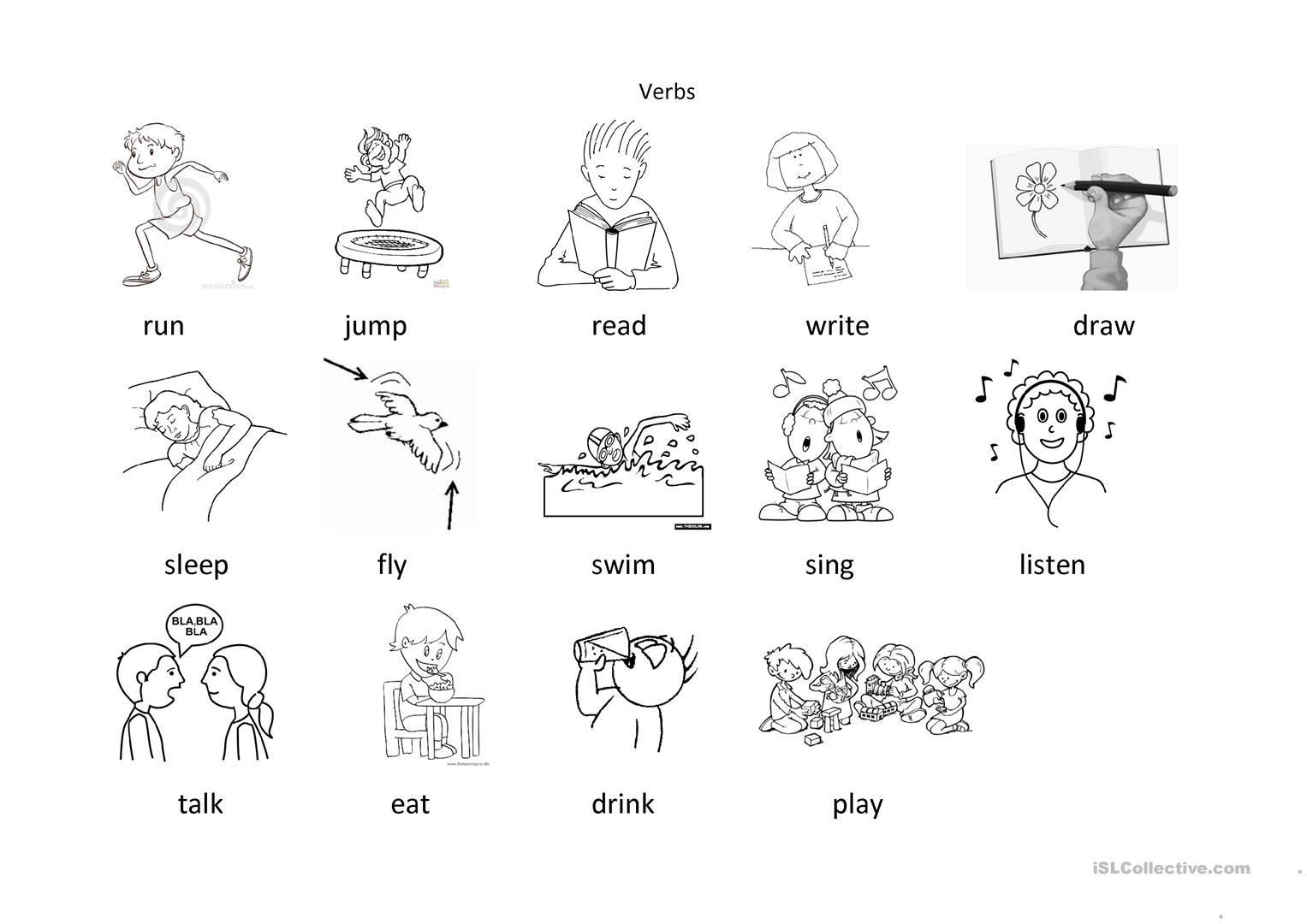 51 Action Verbs Coloring Worksheets