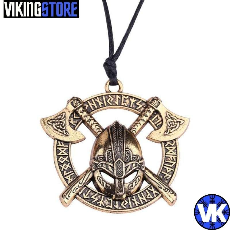 Viking necklace with Double axe and Helmet This viking necklace with double axe and helmet is an High quality Nordic jewelry. The Pendant representing a Viking helmet from Berserker as well as its two Axe. Grab your axe and shield and join us on the battlefield! Skall! Stainless steel. Metal Color: antique silver/bronze plated Chain Length: about 90cm Viking fans will love finding the Viking Dragon Necklace to add a unique touch to their style and provide protection. This fascinating fantasy cre