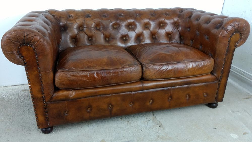 details zu sofa 2 sitzer chesterfield cognac braun vintage leder couch art deco 50er design. Black Bedroom Furniture Sets. Home Design Ideas