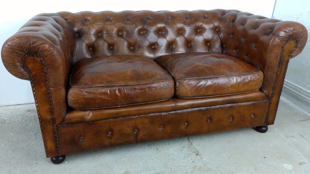 Sofa 2 Sitzer Chesterfield Cognac Braun Vintage Leder Couch Art