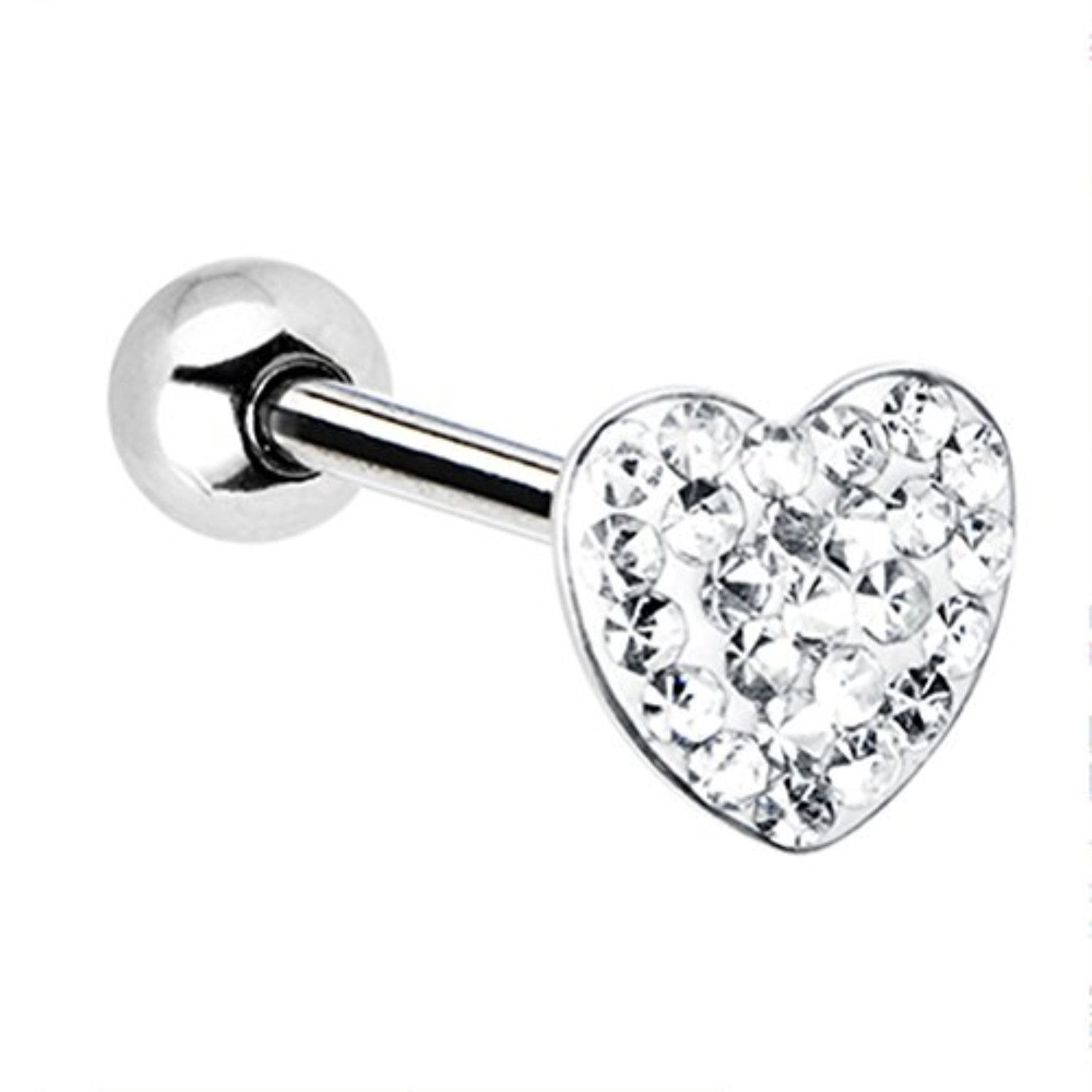 Tongue piercing areas  Dome Clear Heart Gem Barbell Tongue Ring G Jewelry  Products