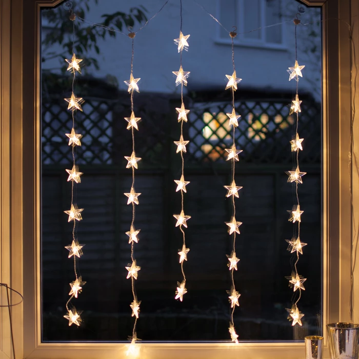 40 Warm White Led Star Curtain Light Curtain Lights White