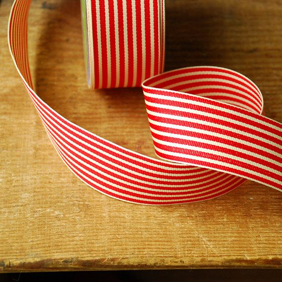 1 yard Red and Ivory Stripe Vintage Style Ribbon - Grosgain Holiday Gift Wraping Supplies by the yard. $1.00, via Etsy.