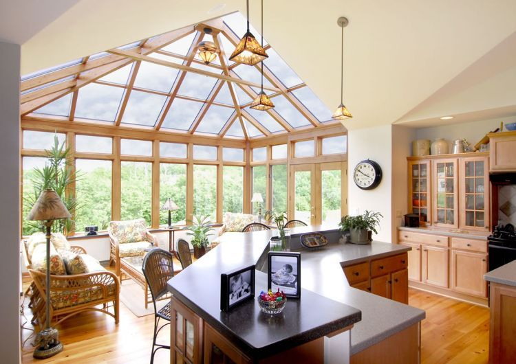 Kitchen Georgian Conservatory With Wood Interior Four Seasons Sunrooms Designs