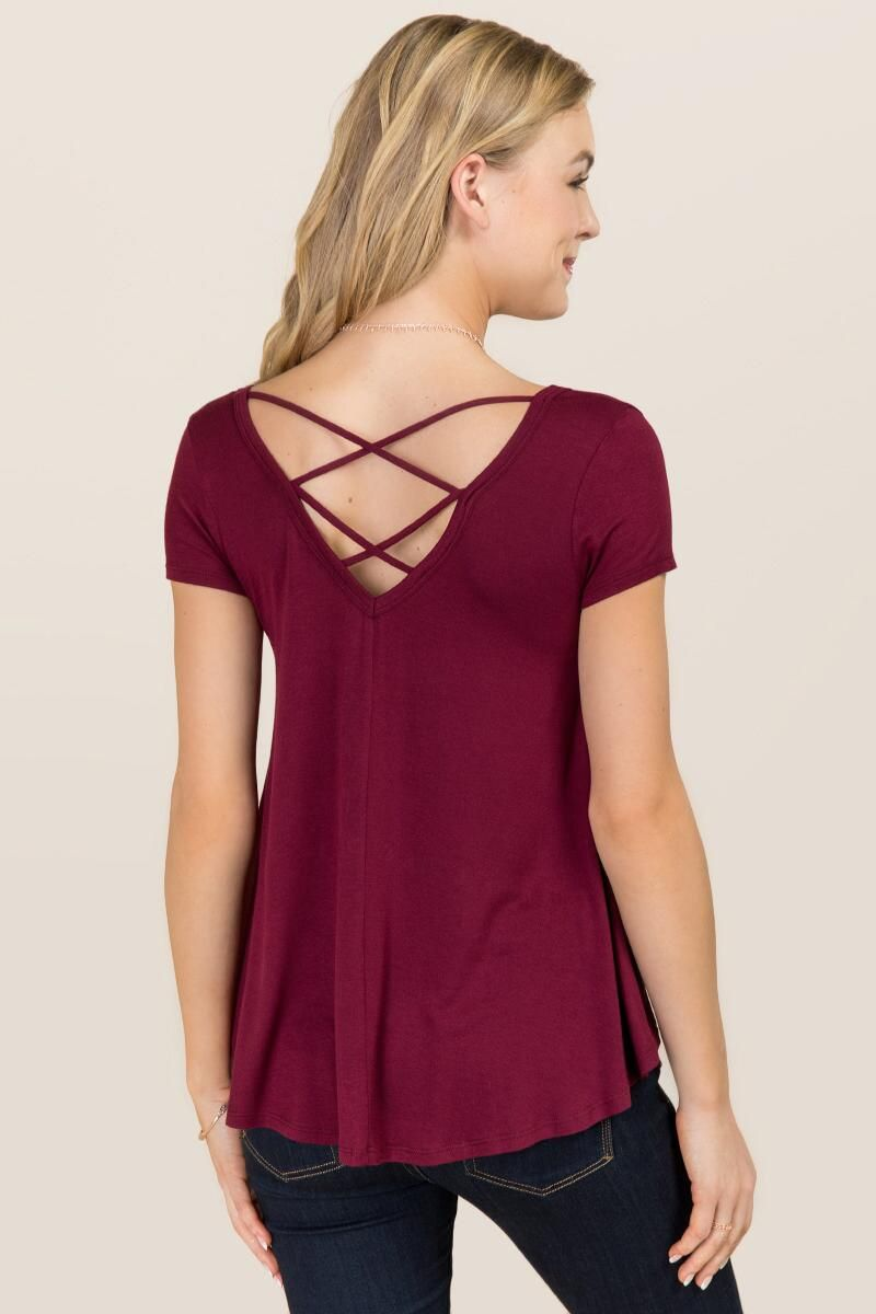 Not A Regular Mom Lattice Back Graphic Tee - wine-clback