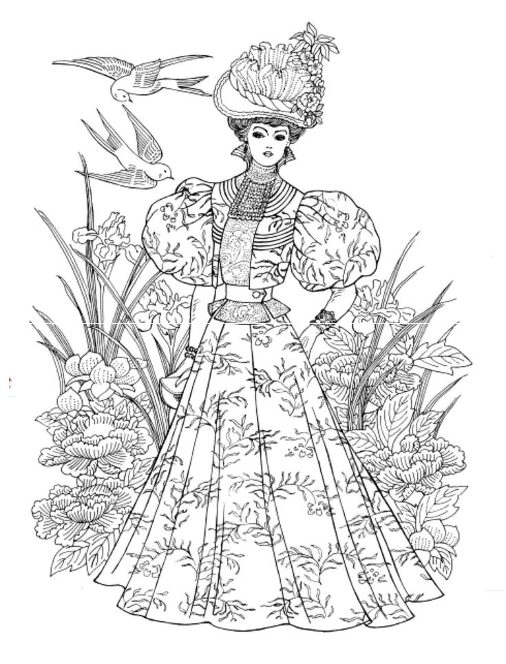 Art Nouveau Fashions Coloring Book, Dover Publications Adult Coloring Therapy Free ...