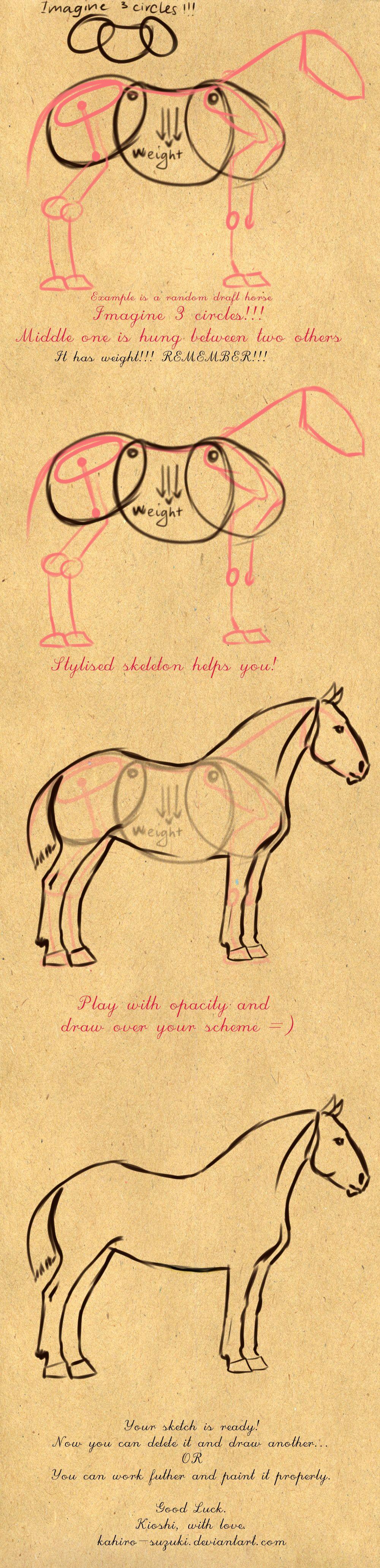 how to draw draft horses