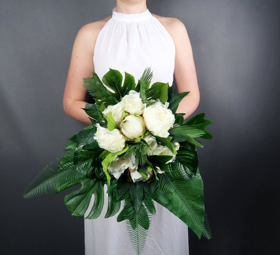 Tropical wedding bouquet with white flowers and greenery, realistic silk peonies roses, monstera leaves, modern wedding bridal flowers ivory #fantasticweddingbouquets