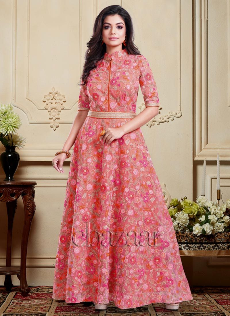 9eeb14fd0b Buy Bollywood Vogue Pink High Neck Anarkali Gown, Sequins ...