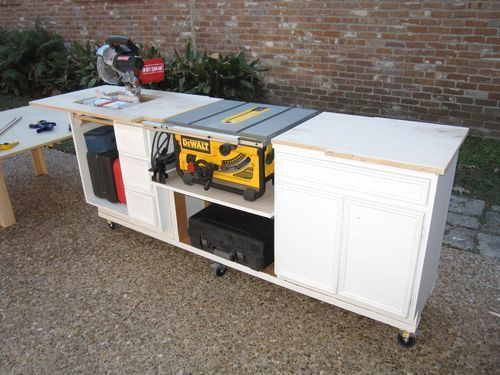 Portable miter saw table made from kitchen cabinets ...