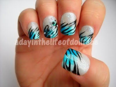 blue black and silver zebra print nail artthis is hot! i