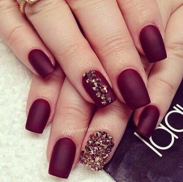 Deep Red Nails Unas Pinterest Deep Red Nails Red Nails And