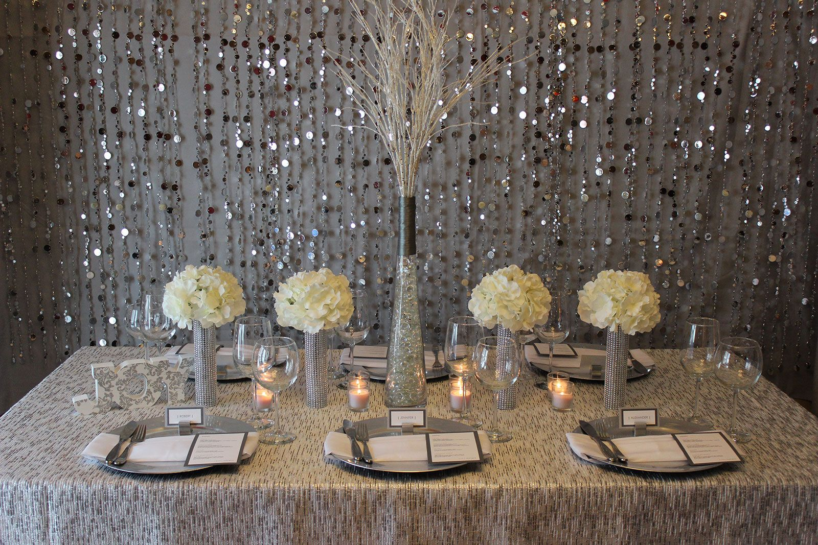 Glam Winter Wedding Table Setting Silver Gray White By Jubilee ...