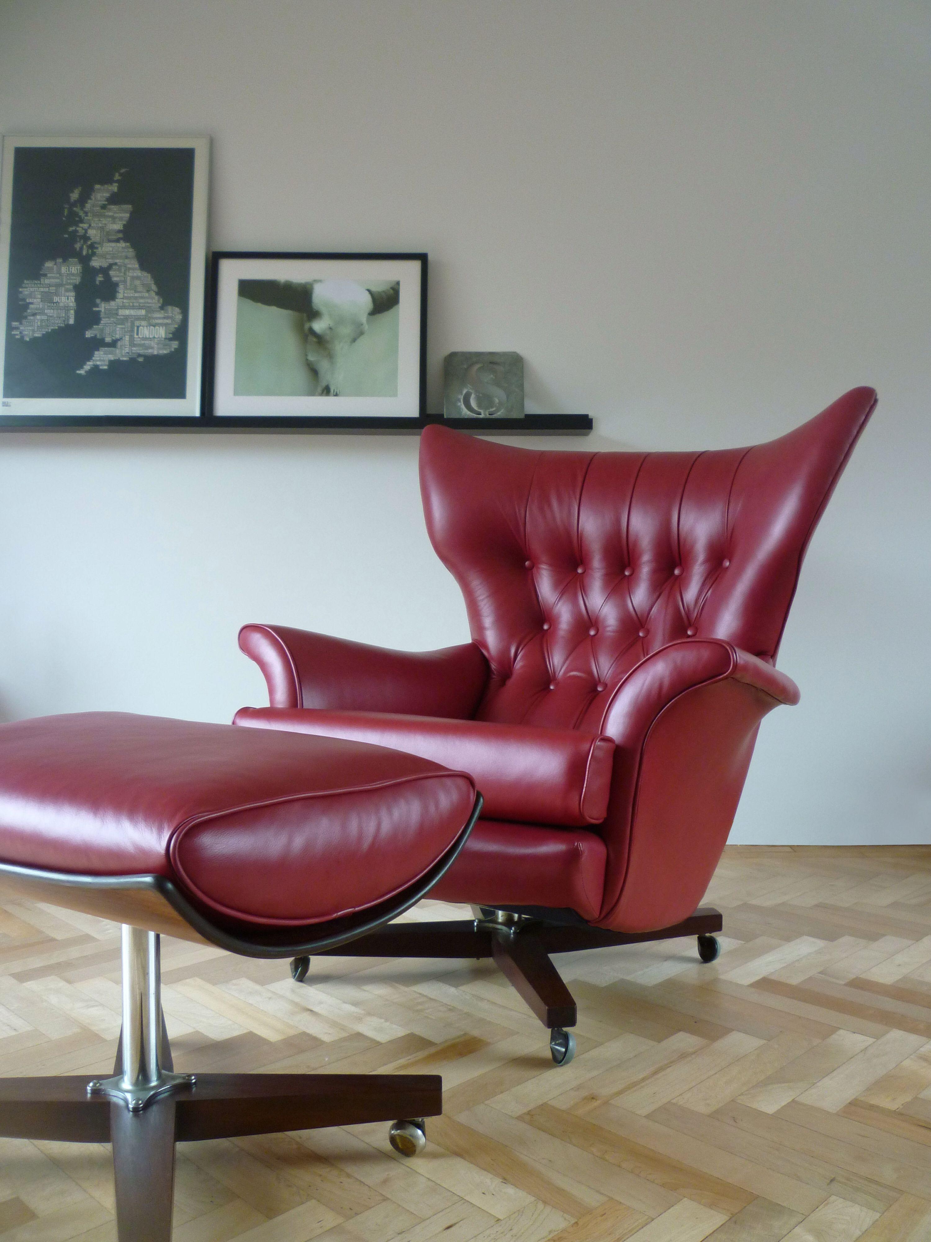 vintage gplan 6250 swivel chair ottoman restored in custom red