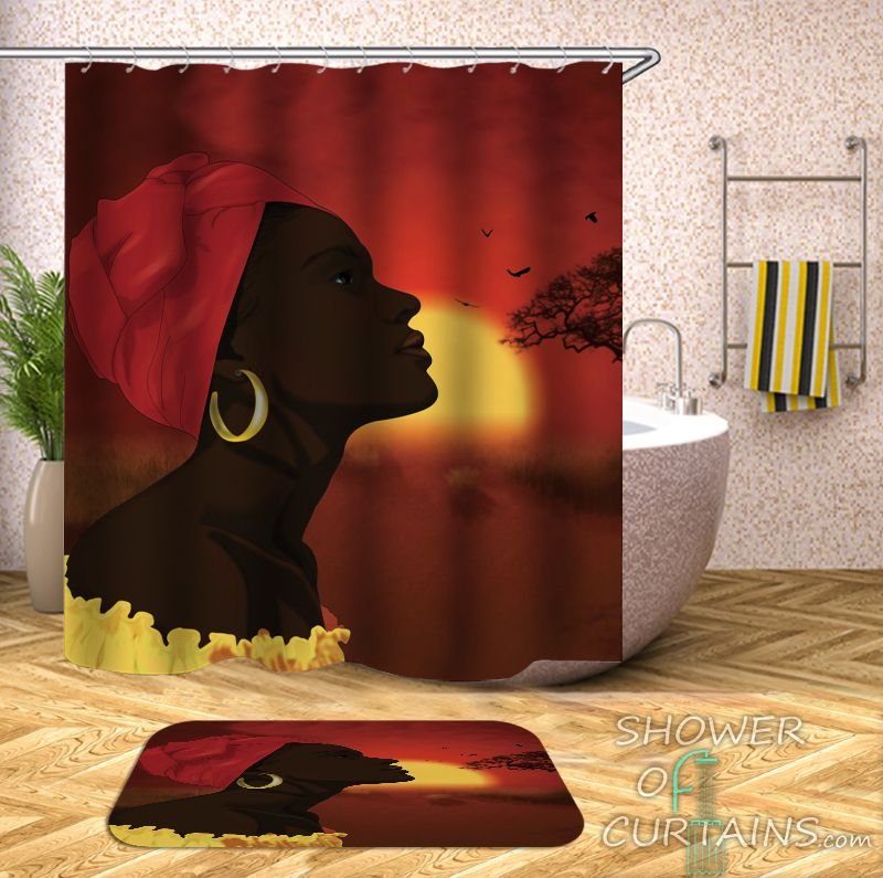 African Woman Over The African Horizon Shower Curtain - HXTC0721