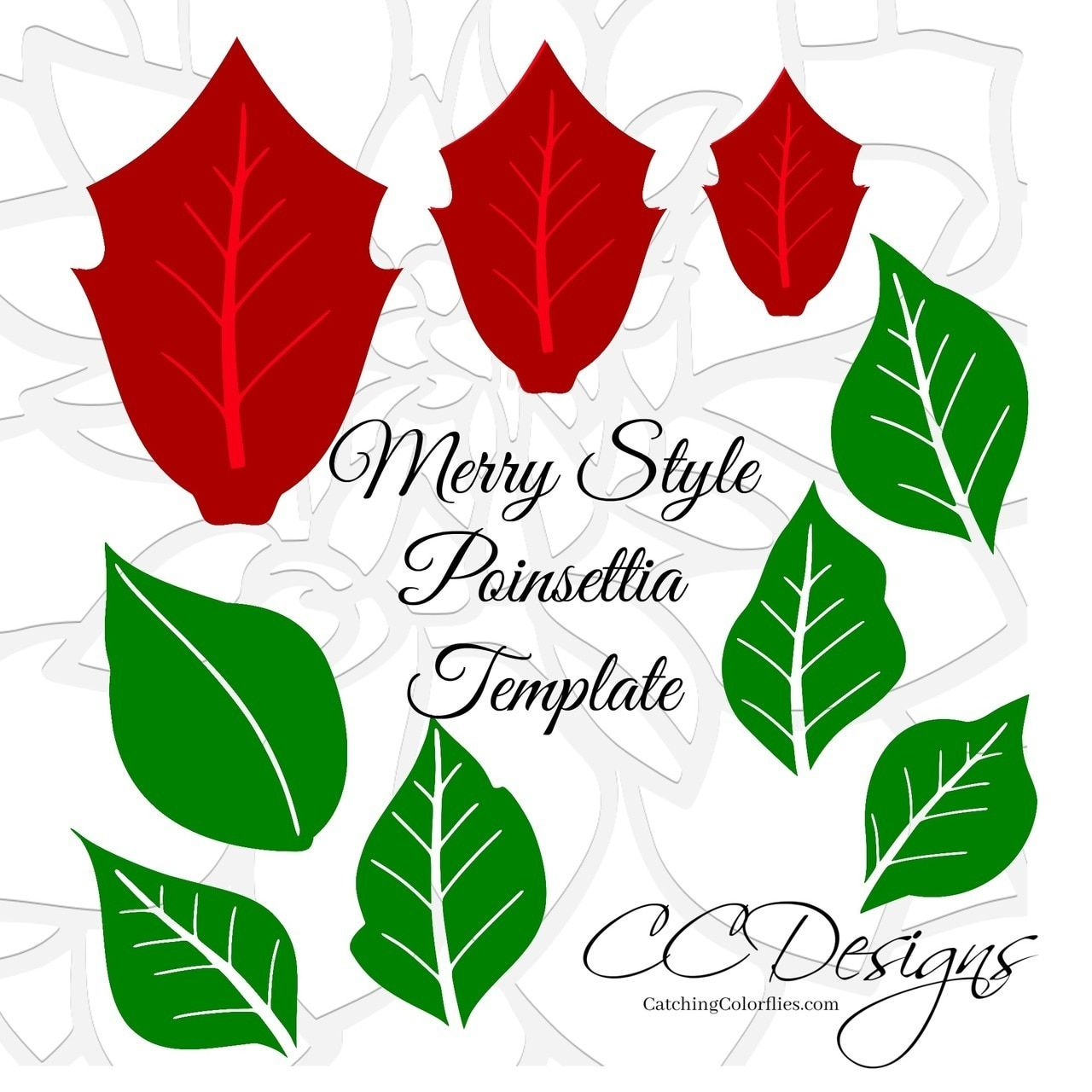 Merry Poinsettia Christmas Flower Template Paper flowers