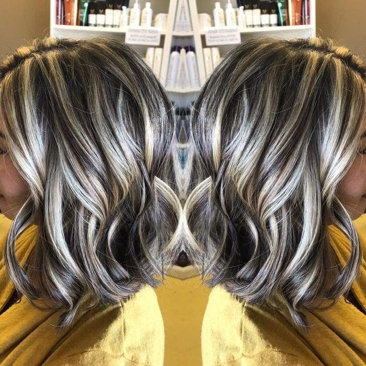 Angledbob Highlights Lowlights Hair By Sharon Teceno Http Bargain Toptrendspint Blackjumpsuitoutfit Tk Gray Hair Highlights Covering Gray Hair Brown Blonde Hair