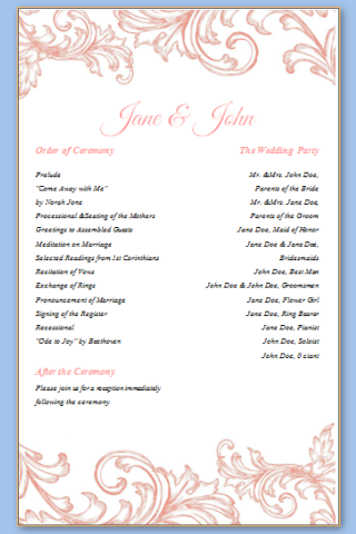 One Page Wedding Program Template Check More At Https Nationalgriefawarenessday Com 49567 One Page Wedding Program Template
