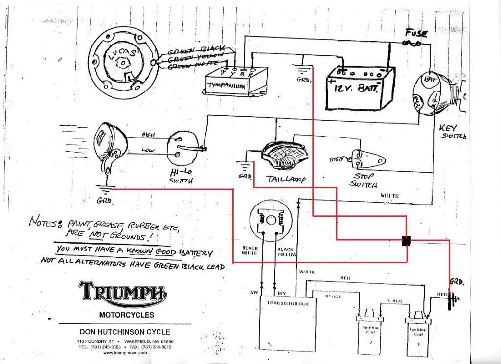 1969 triumph tr6 wiring diagram schematic