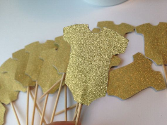 Gold Onesie Cupcake Toppers ~ Baby Shower Decorations, Baby Girl Baby Shower, Girl Onesie Party Decorations,