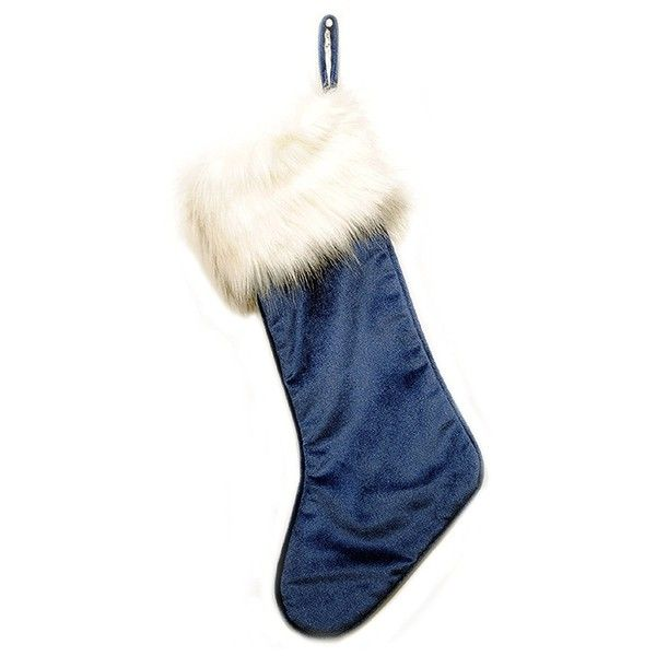 Blue Velvet and Faux White Fur Christmas Stocking ($25) ❤ liked on