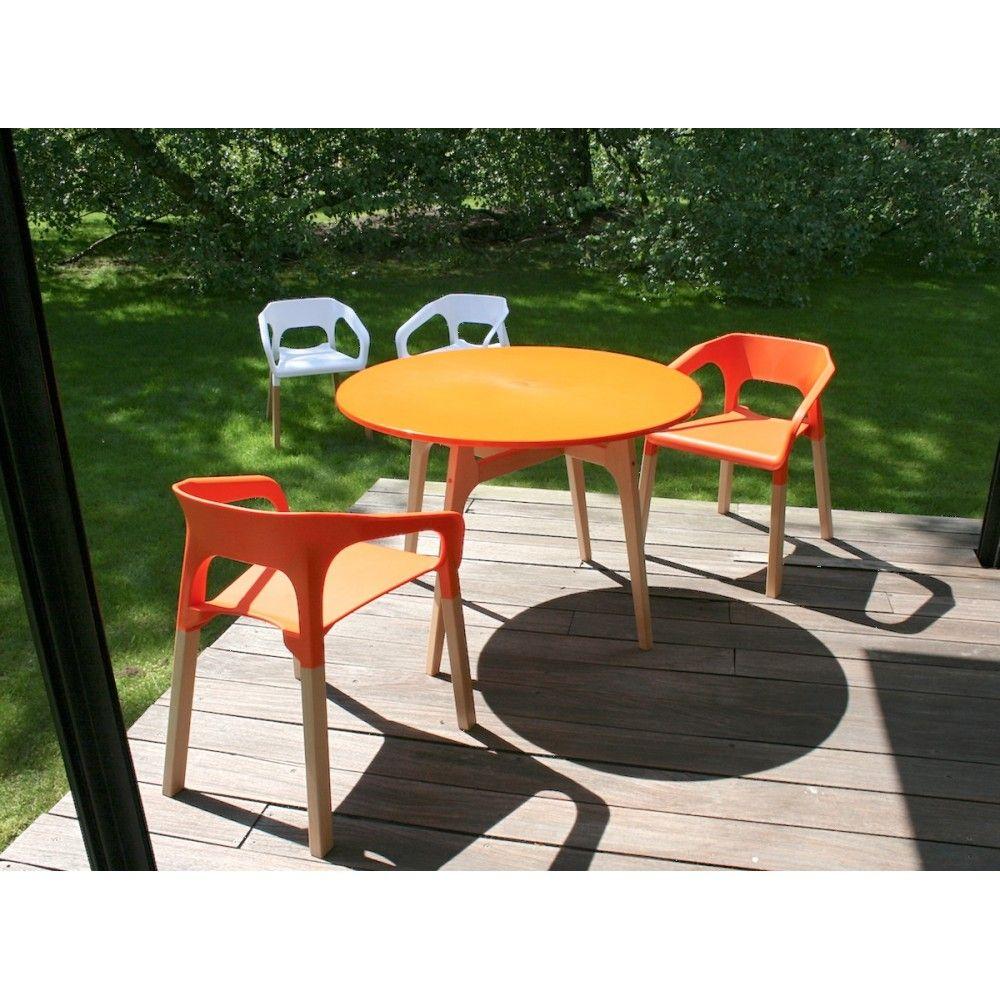 Salon de jardin résine et bois 4 places Popwood (Blanc/Orange) | For ...