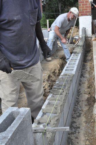 How To Build A Concrete Block Foundation Pavimento Esterno Sentieri Per Giardini Banco Da Lavoro