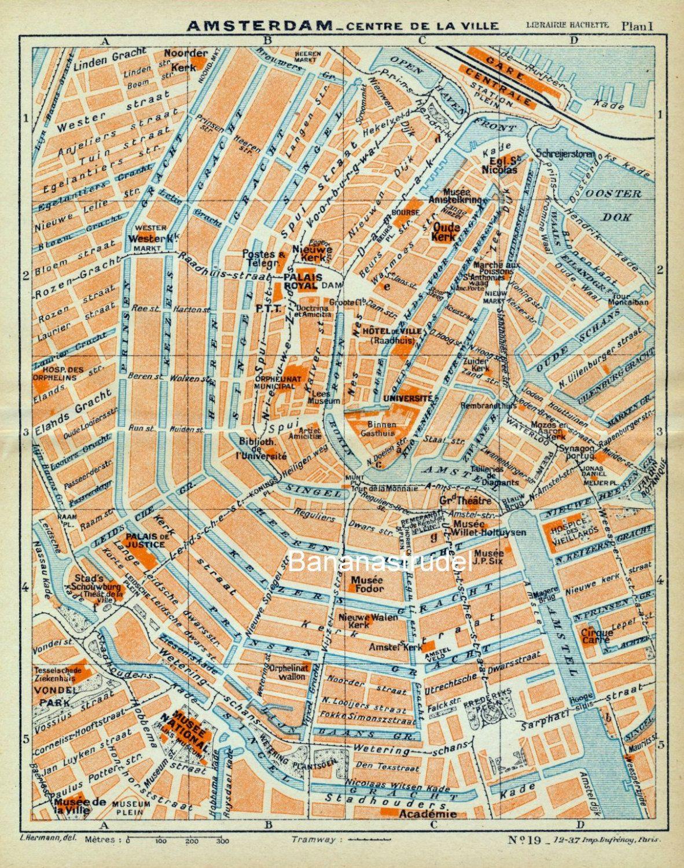 Vintage Map Of Amsterdam Antique Map Of Por Bananastrudel - Antique maps amsterdam