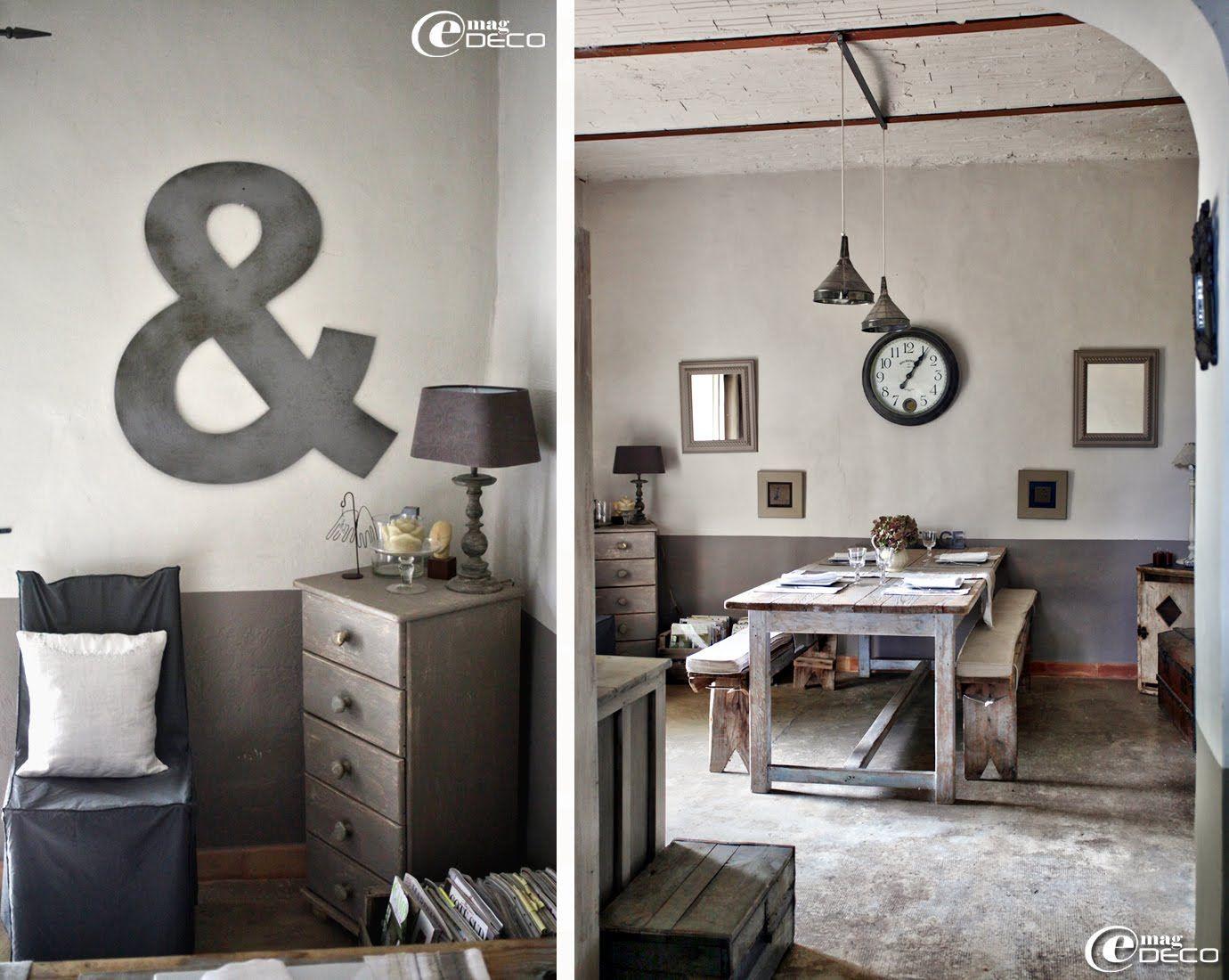 Salle manger habill e d un cama eu de gris et blanc dans un esprit r cup et brocante - Deco maison recup ...