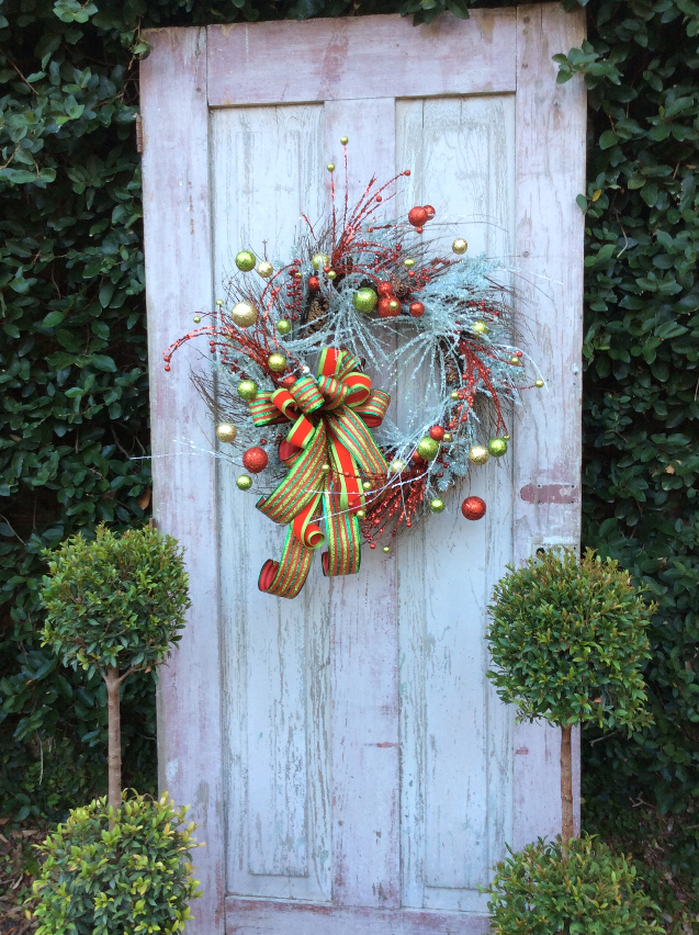 Christmas Flocked Red and Green Ball Wreath Christmas