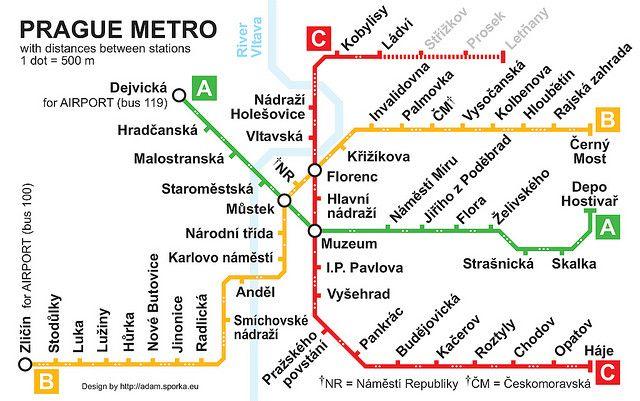 Prague Subway Mapinfo.Prague Metro Map With Distances Between Stations By Adam Sporka Via
