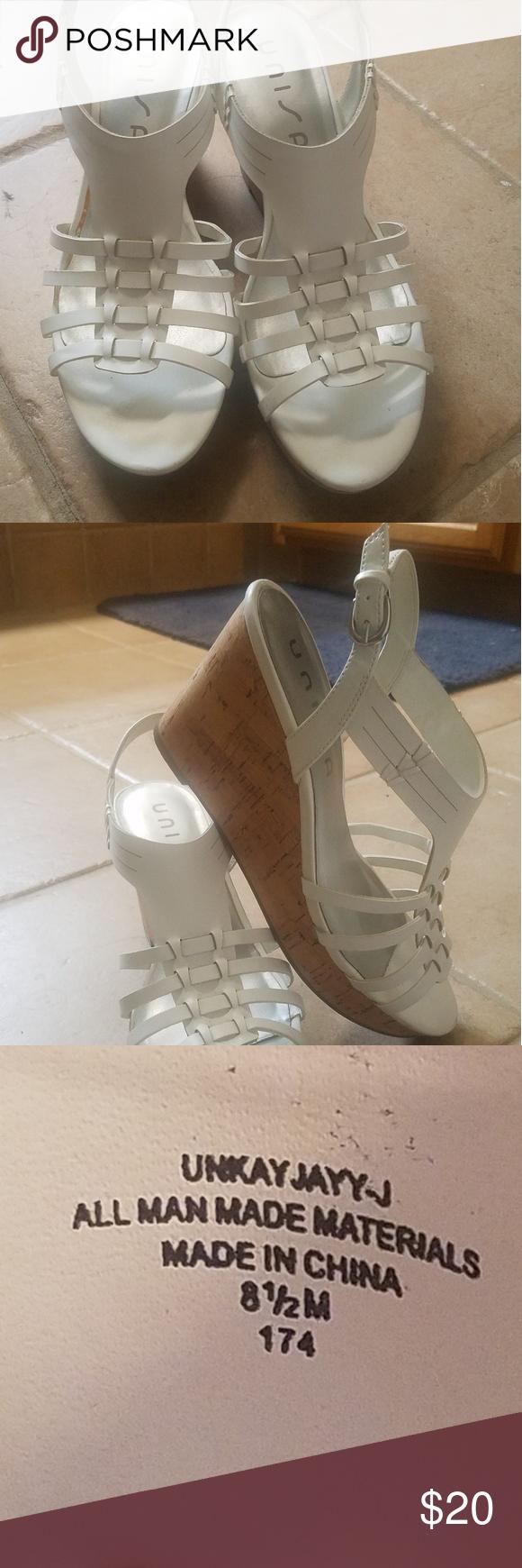 e3e38699089b Unisa White Wedge Platform Sandles White Wedge Platform Sandles worn once  on my wedding day. Unisa Shoes Wedges
