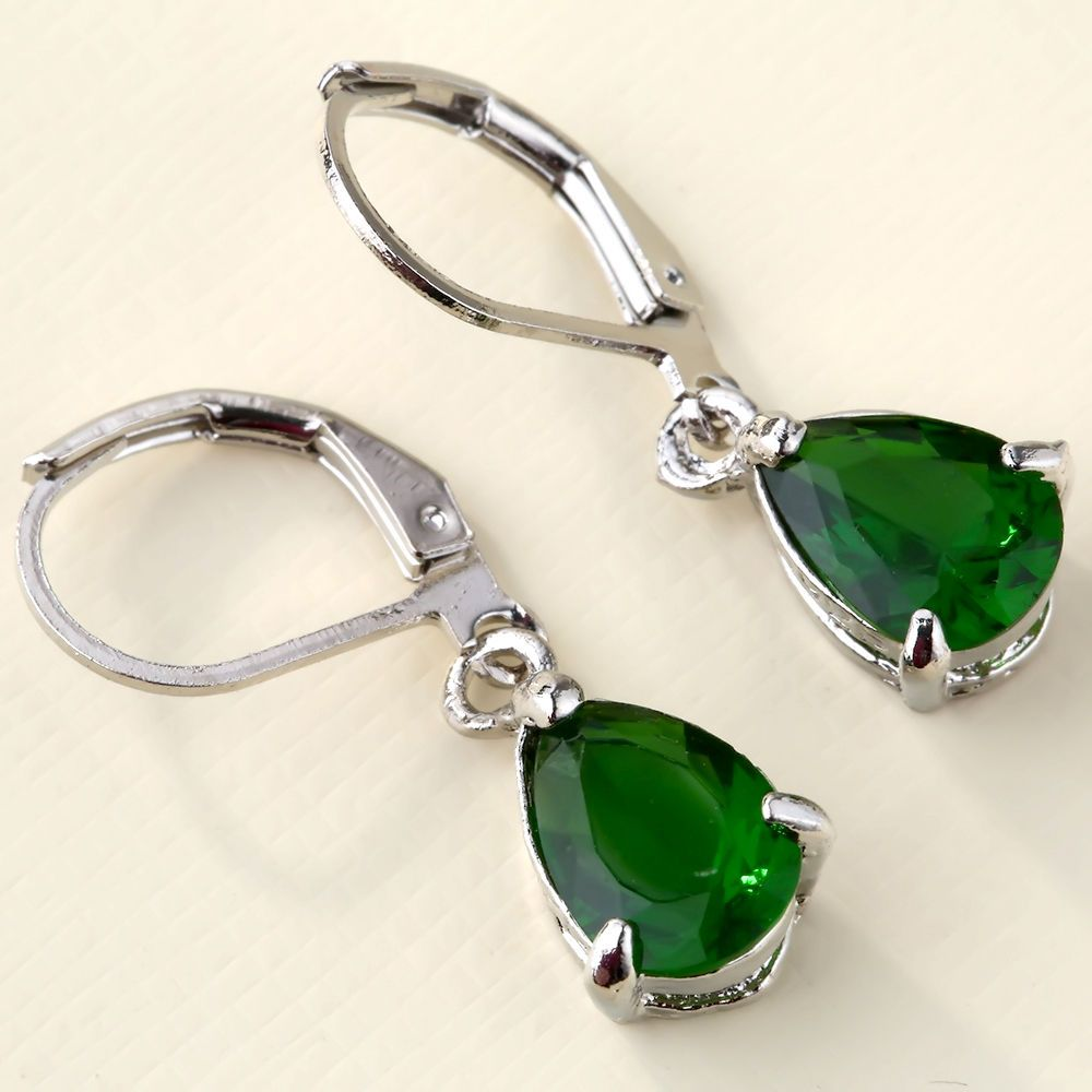 0bc764bf0 Women's Fashion 925 Solid Silver Emerald Stud Hoop Earrings Party Jewelry