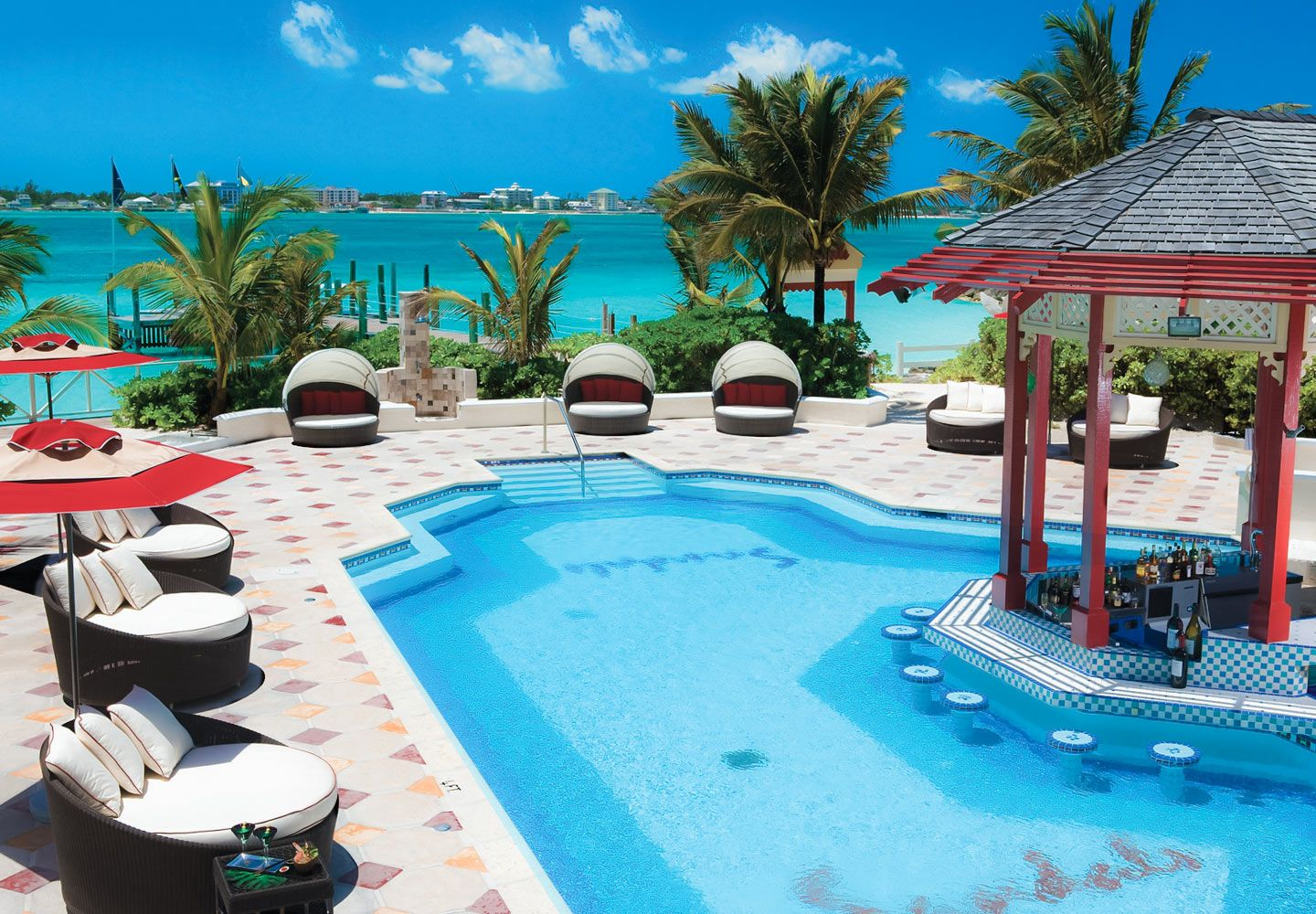 The Pool On Sandals Island Includes Our Signature Swim Up Bar
