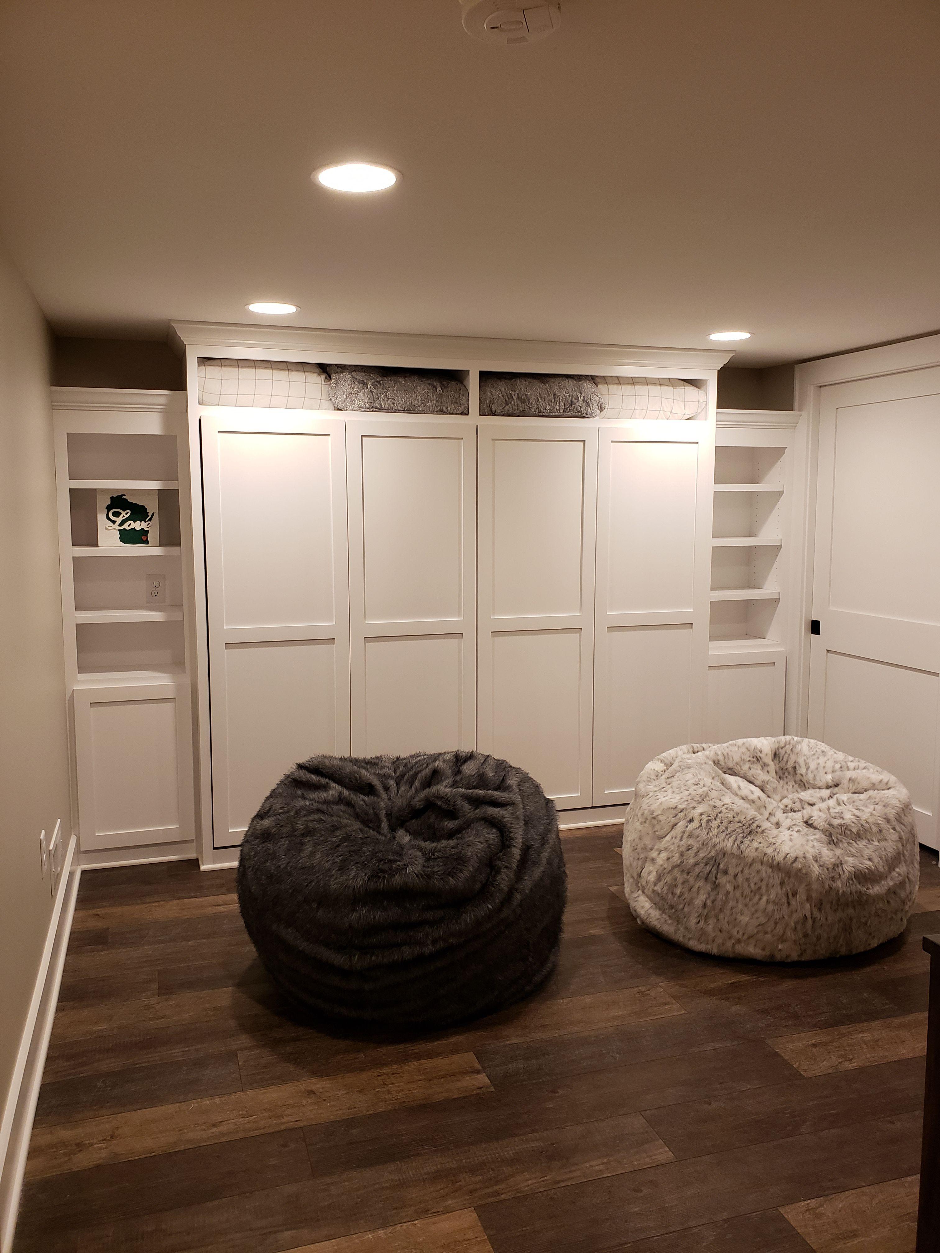Beautiful Murphy Bed Desk Plus White Leather Loveseat