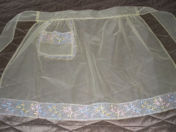 1950's Brand New Yellow Chiffon Easter Apron with by ThatRetroShop, $23.50