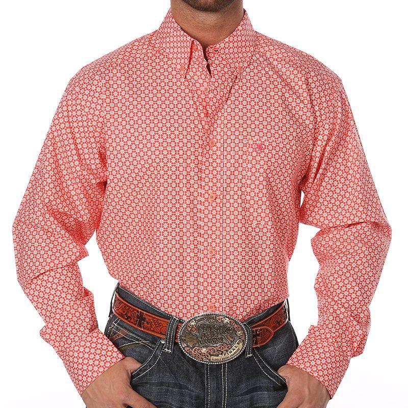 Men s Ariat Classic Buttondown Coral and White Print Long Sleeve Shirt 73279d77ffe