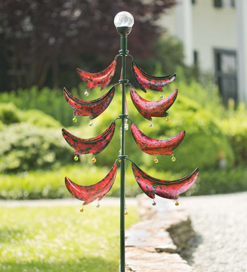Christmas Tree Metal Wind Spinner With Solar Globe $99.95