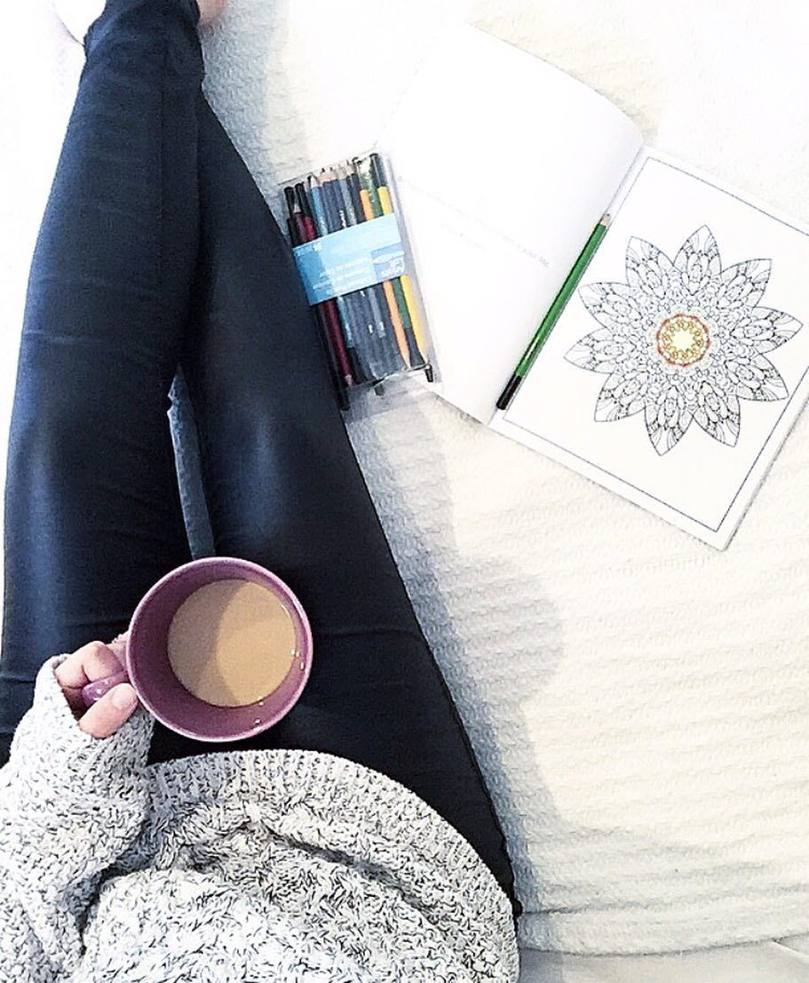 Obsessed with #leatherleggings #coffee and these #adultcoloringbooks. My #relaxing Tuesday . .  #coffeelover #coloring #leather #leggings #love #nowork #ootd #favorite #comfy #tattoedmom #fms_liquid #photoaday #motherhood #momlife by hhayleyymariee
